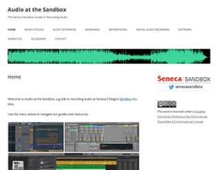 Screenshot of the homepage of the website